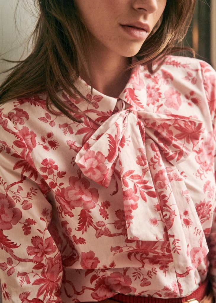 Red and White Floral Bow Neck Blouse Tie Neck
