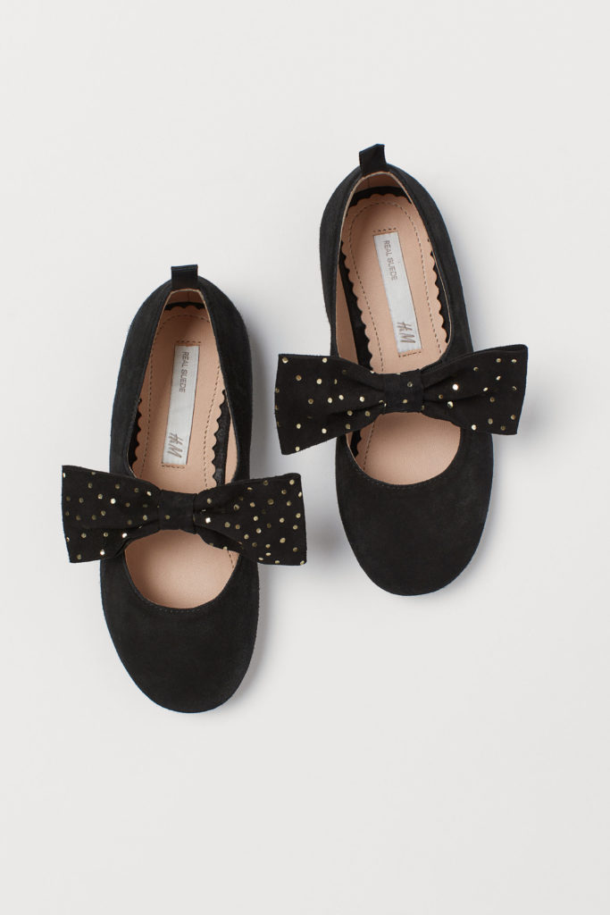 Suede Ballet Flats with Bows
