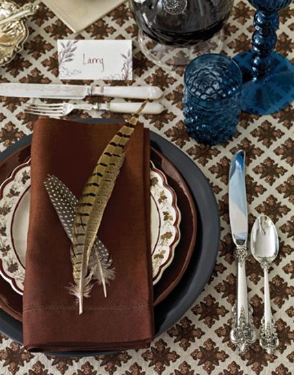 Pheasant Feather Thanksgiving Table Setting