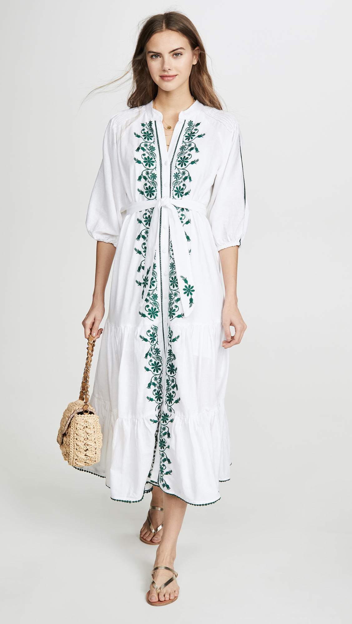 Green Floral Embroidered Maxi Dress