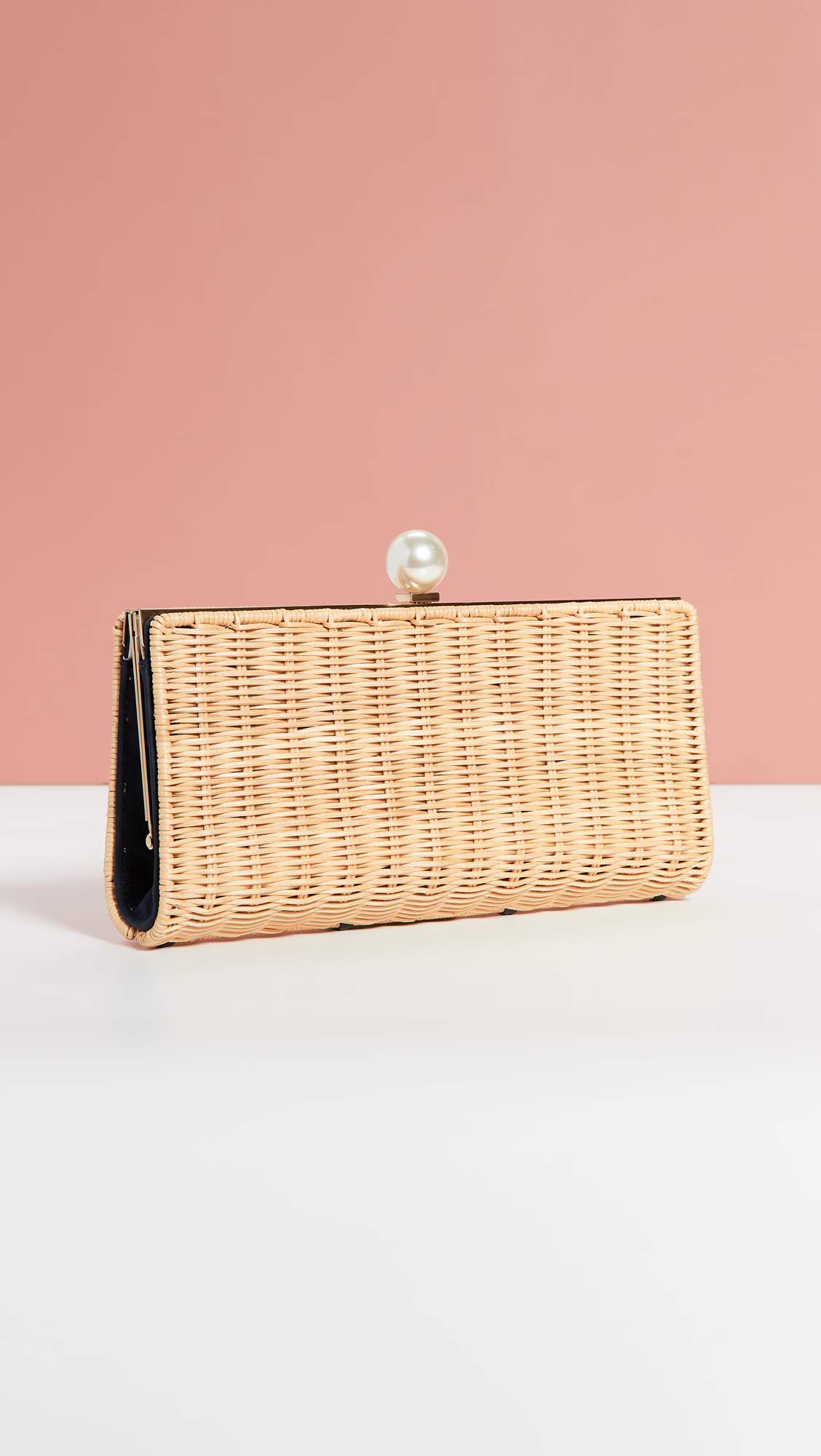 Wicker and Pearl Clutch