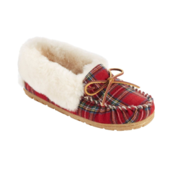 Plaid Shearling Moccasins