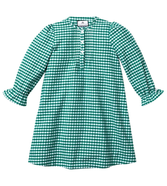 Girls' Green Gingham Nightgown