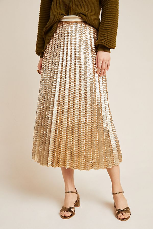 Gold Sequined Midi Skirt