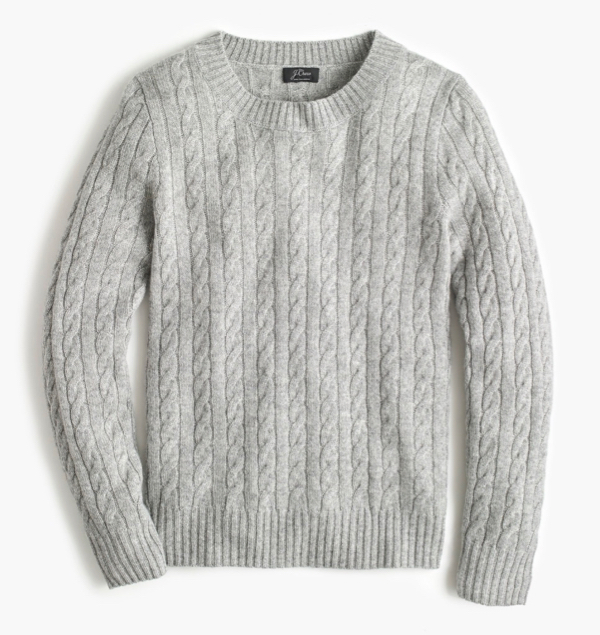 Grey Cashmere Cable Knit Sweater