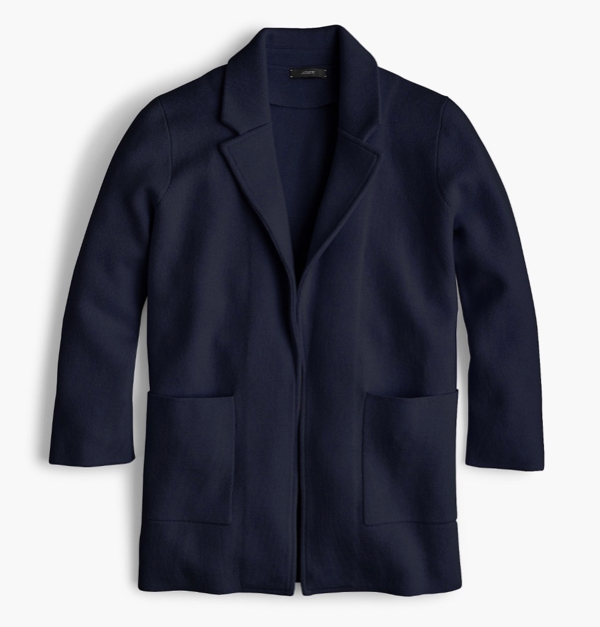 Navy Open Front Sweater Blazer