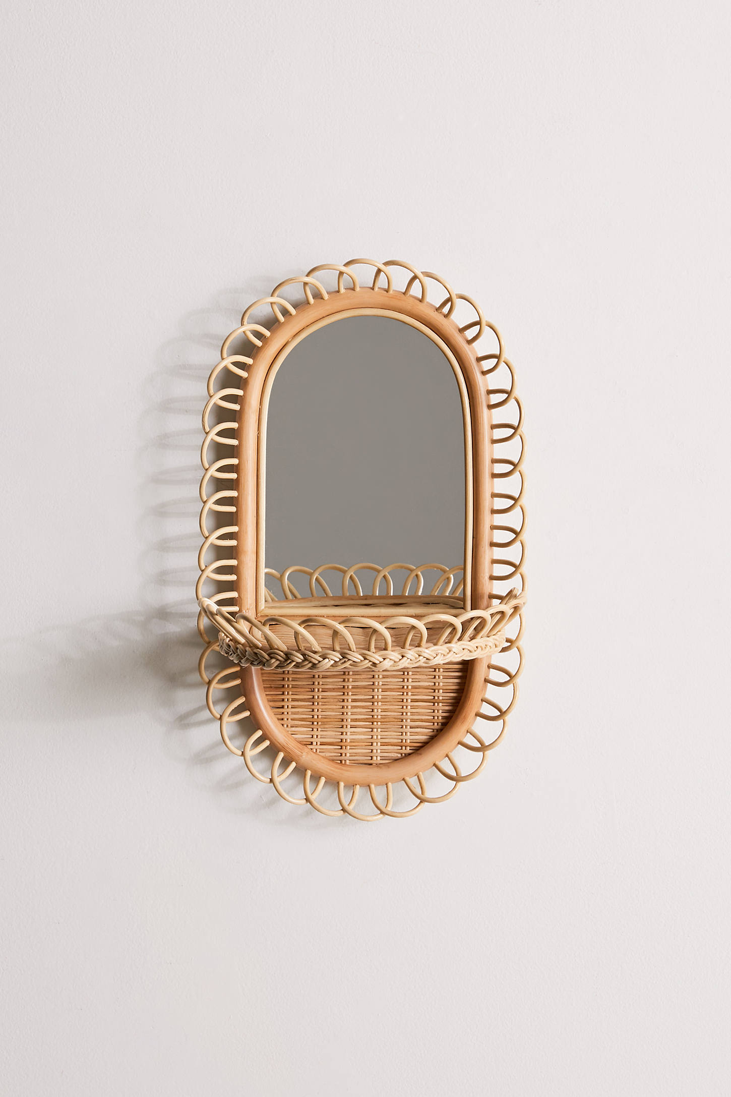 Rattan Wall Mirror and Shelf