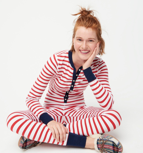Striped Union Suit Christmas Holiday Pajamas
