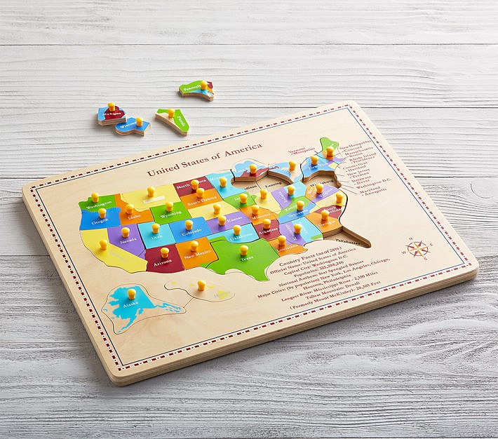 USA Wooden Map Puzzle