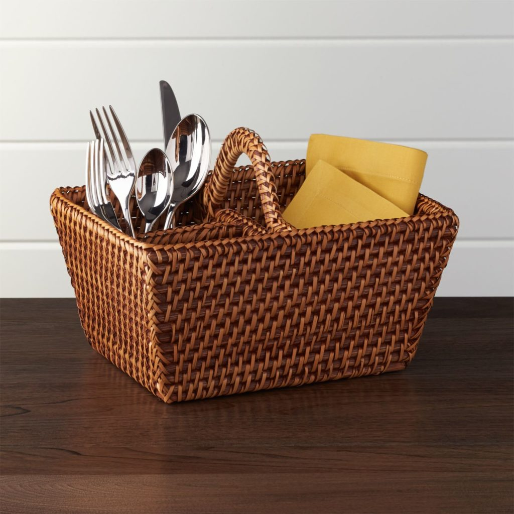 Artesia Rattan Woven Flatware Caddy Holder