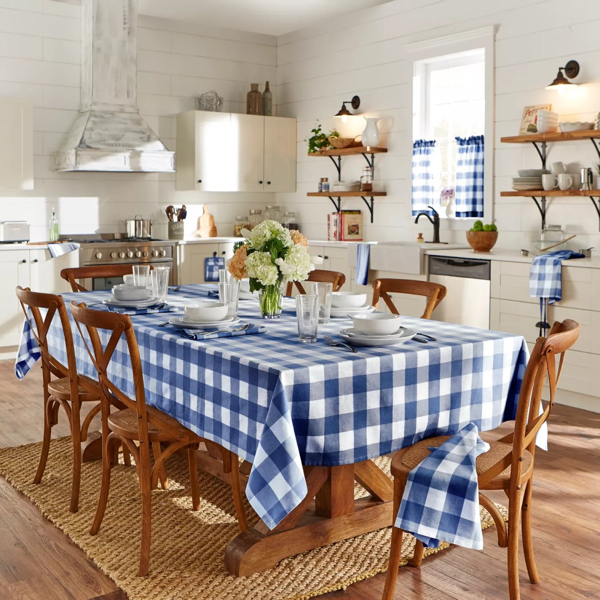 Blue and White Buffalo Check Tablecloth