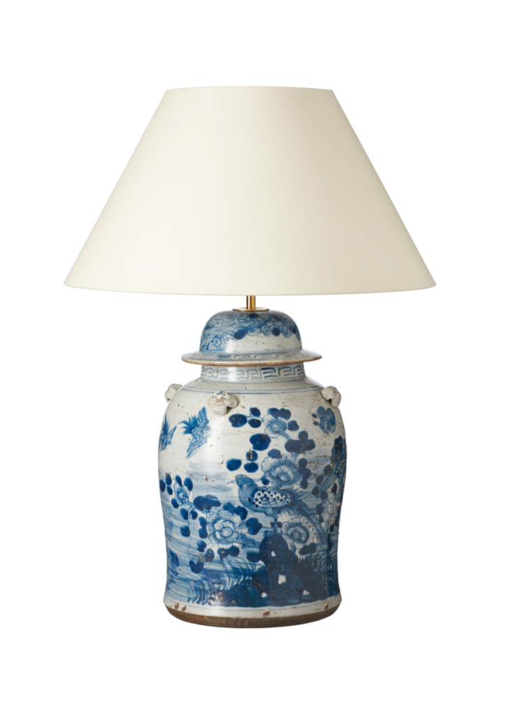 Blue and White Chinese Ginger Jar Table Lamp Asian