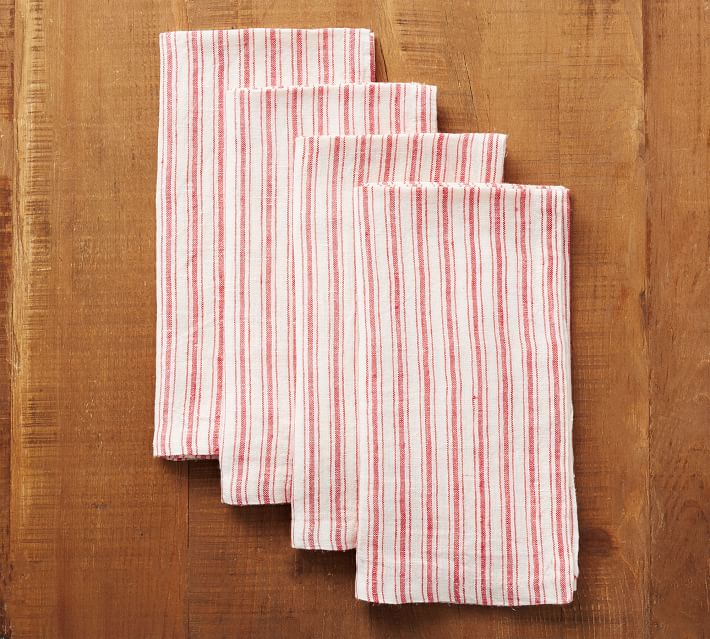 Red Boat Stripe Linen Napkins