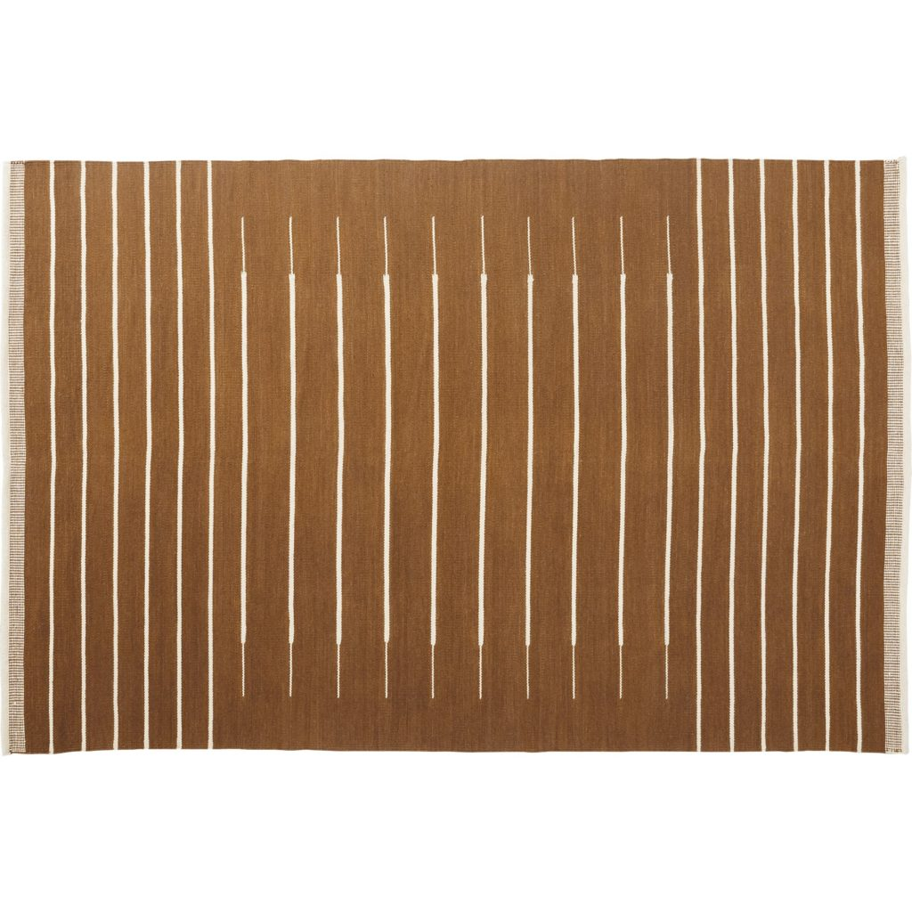 Brown Dhurrie Rug with White Stripes