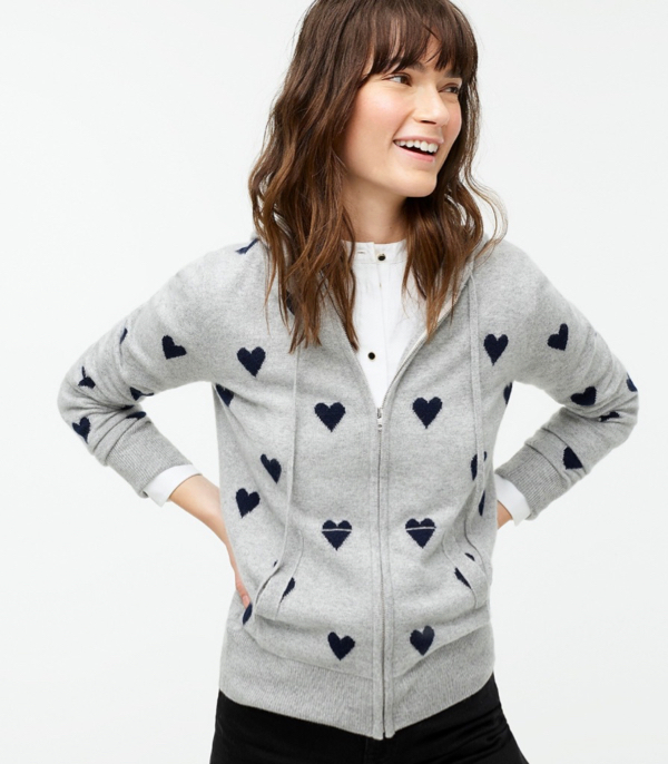 Cashmere Heart Hoodie Grey Navy Full Zip Sweater