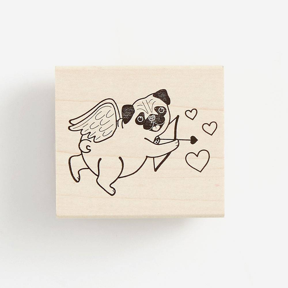 Pug Cupid Rubber Stamp