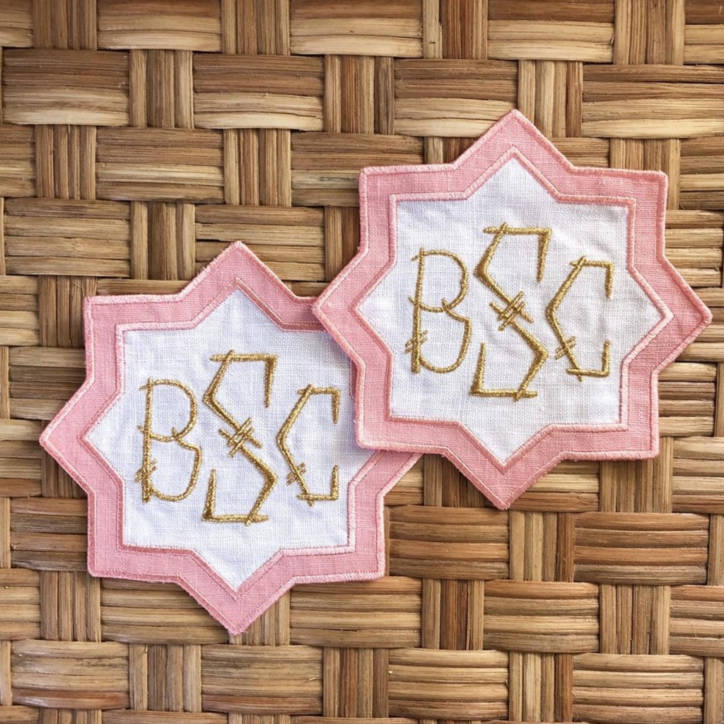 Custom Linen Monogrammed Coasters Star Bamboo Font