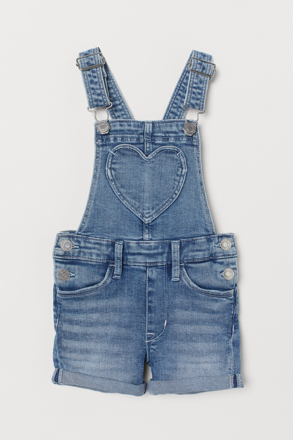 Denim Overall Shorts Heart Pocket Kids