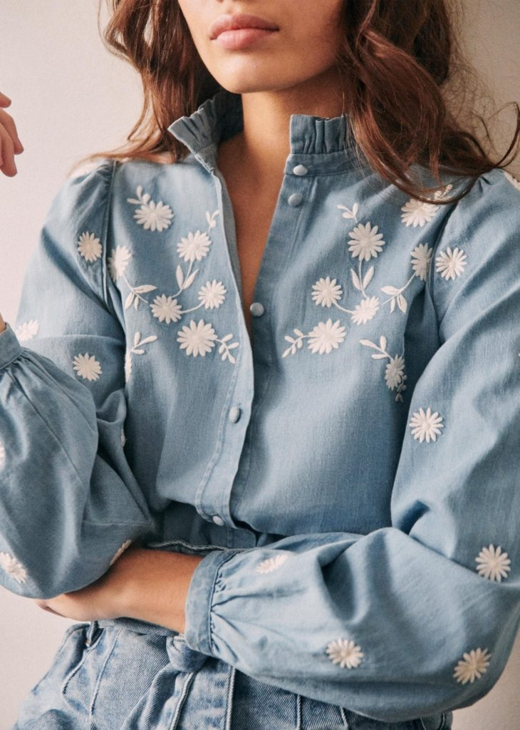 Floral Embroidered Chambray Denim Button Up Top