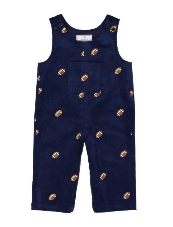 Football Embroidered Corduroy Overalls