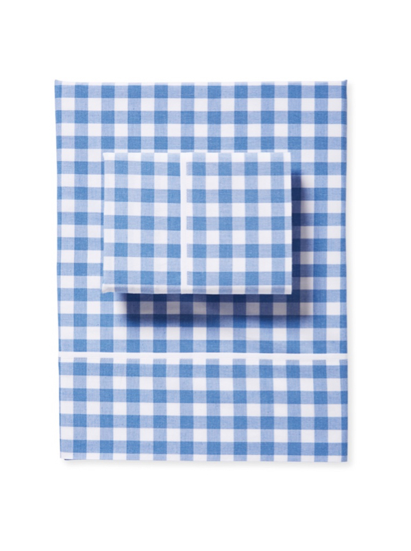 French Blue and White Gingham Sheet Set Checks Plaid