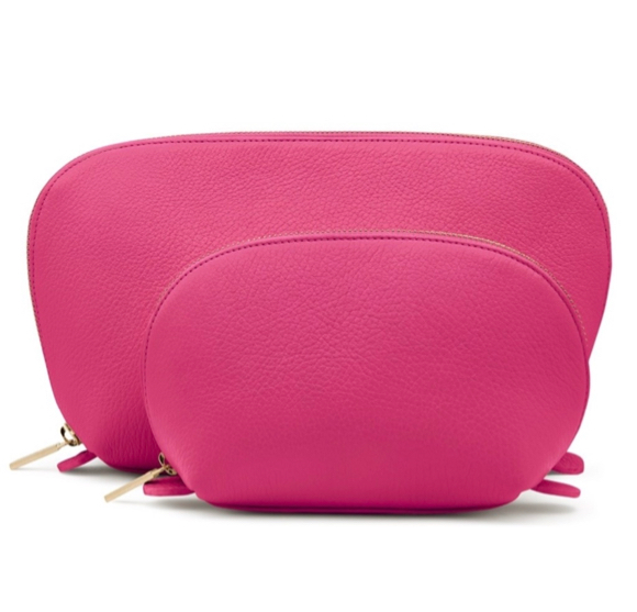 Fuchsia Leather Travel Case Set