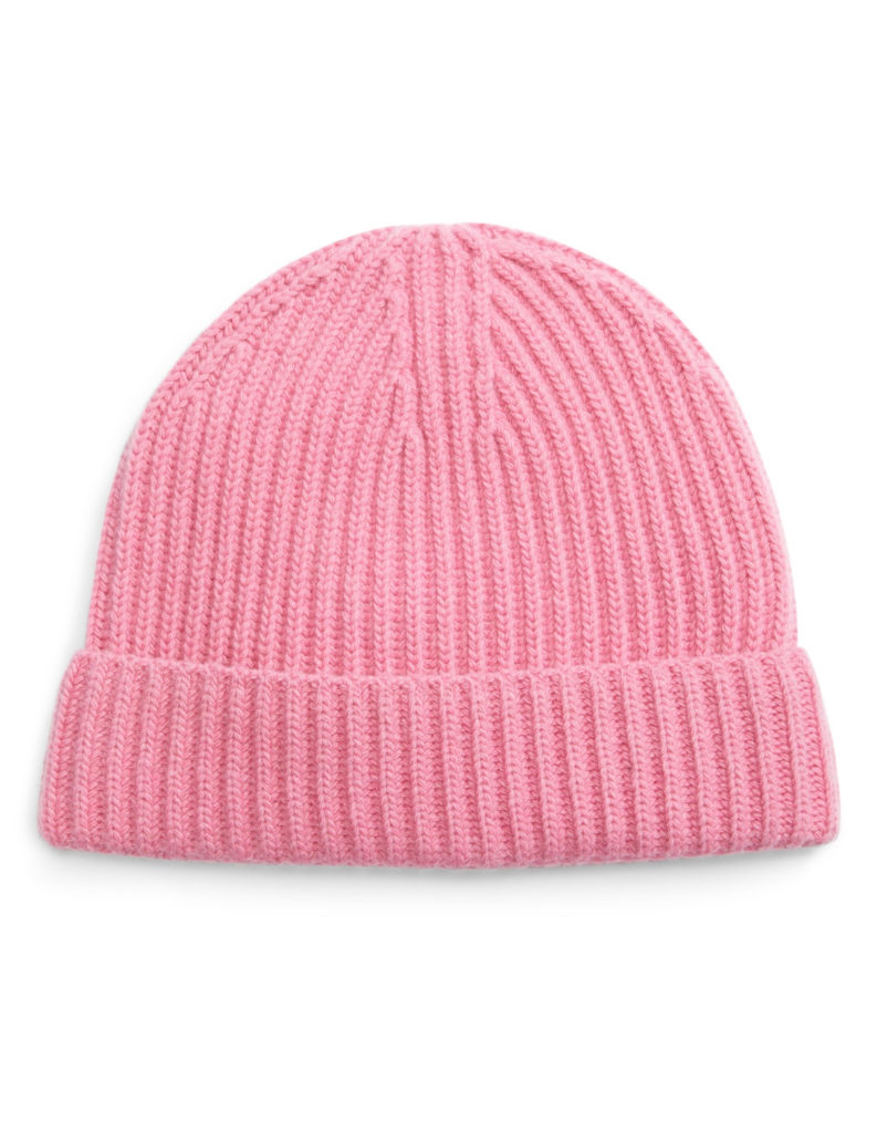 Hot Pink Cashmere Beanie Knit Hat
