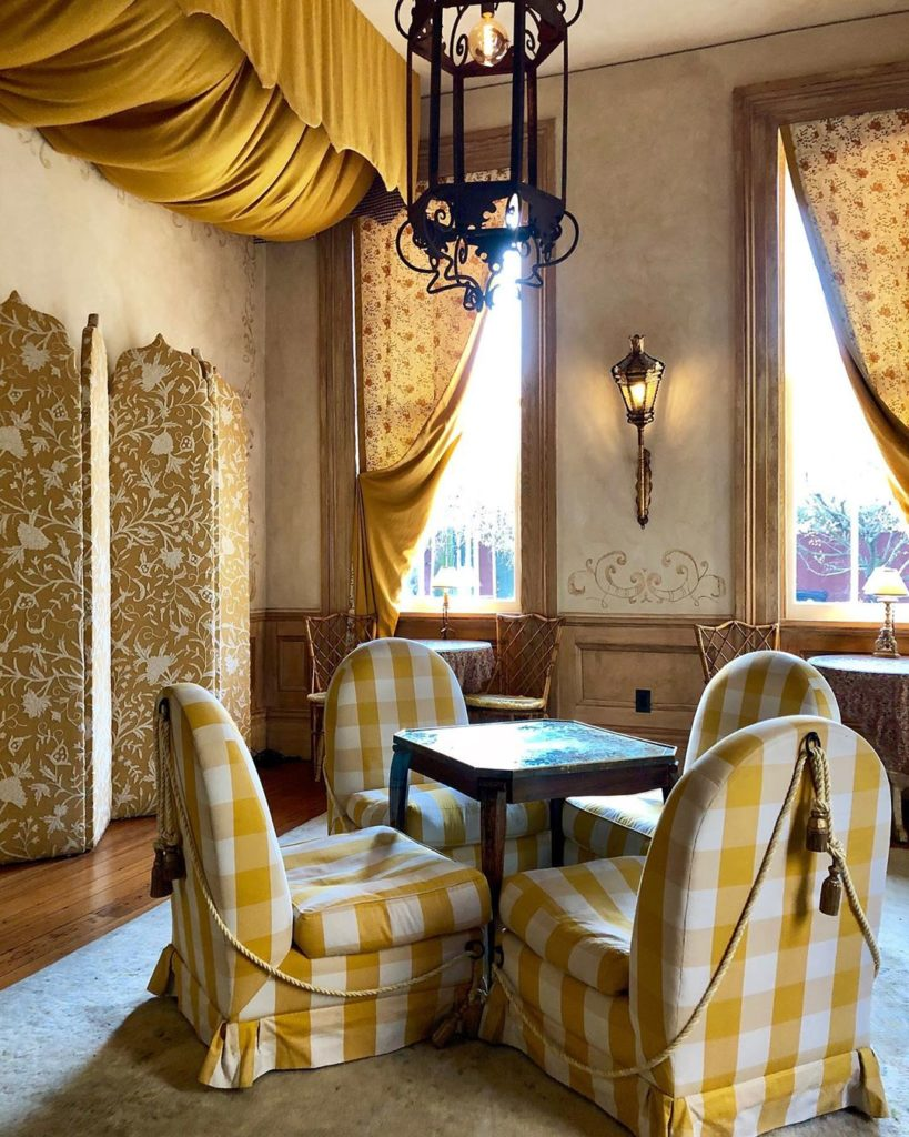 Hotel Peter and Paul New Orleans Elysian Bar Yellow Gingham Check Chairs