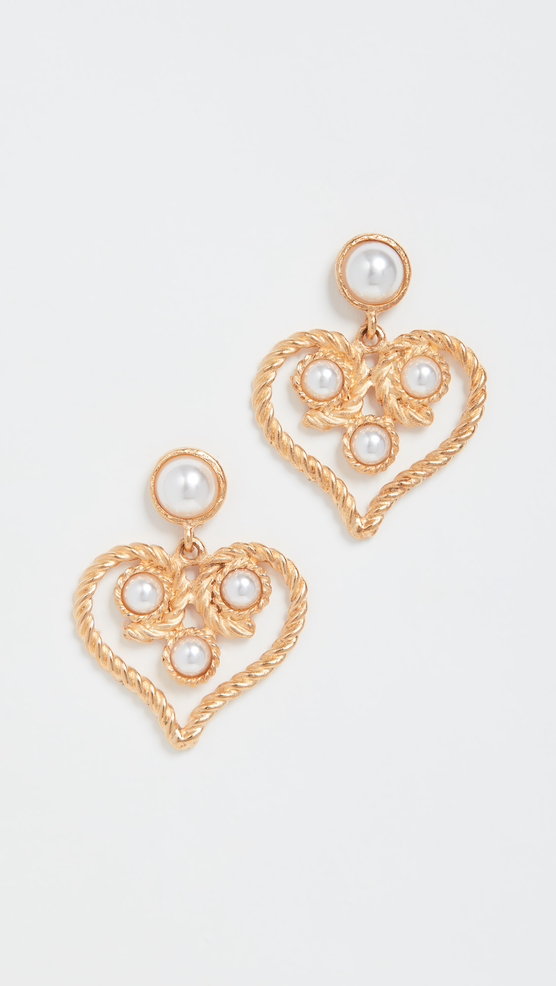 Heart Drop Earrings Gold Pearl