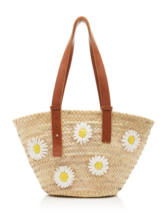 Leather-Trimmed Daisy Floral Embroidered Straw Tote Bag