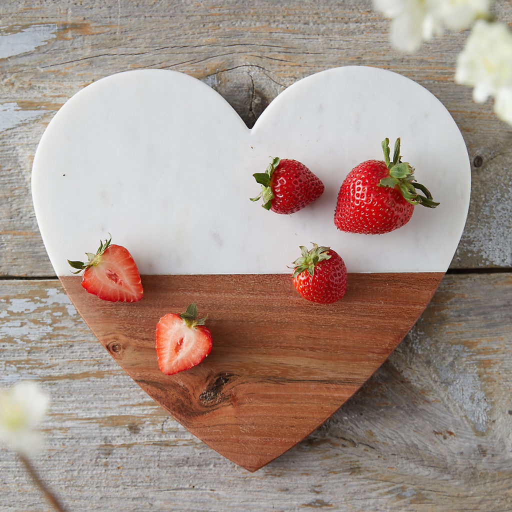 Marble and Wood Heart Serving Board
