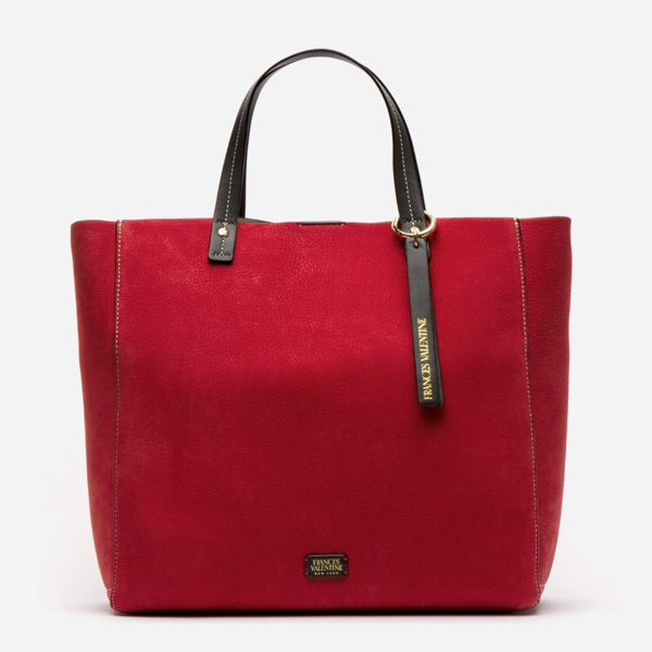Margaret Red Tumbled Nubuck Tote Frances Valentine