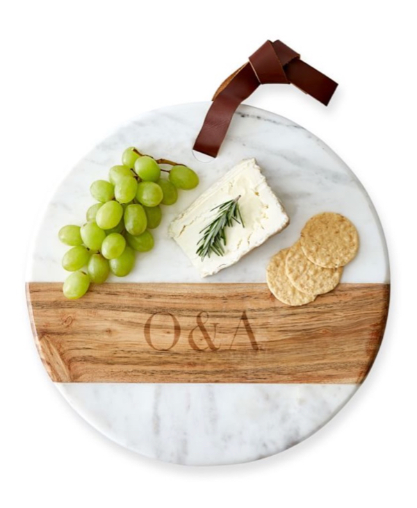 Monogrammed Wood and Marble Cheese Board