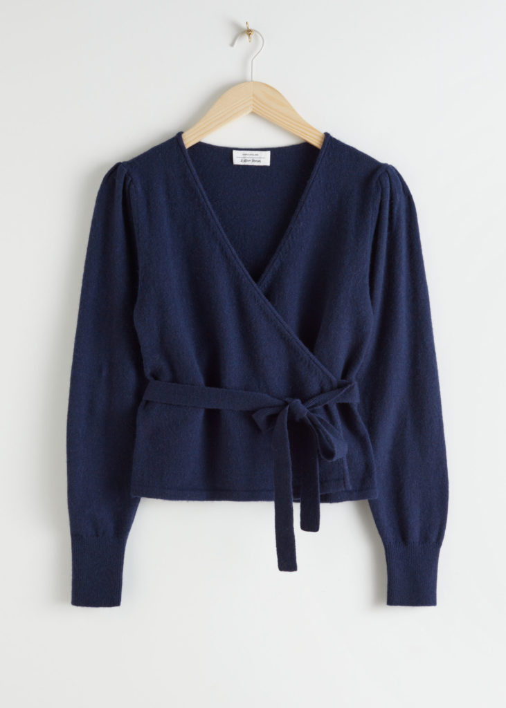 Navy Wrap Cardigan Wool Alpaca Blend