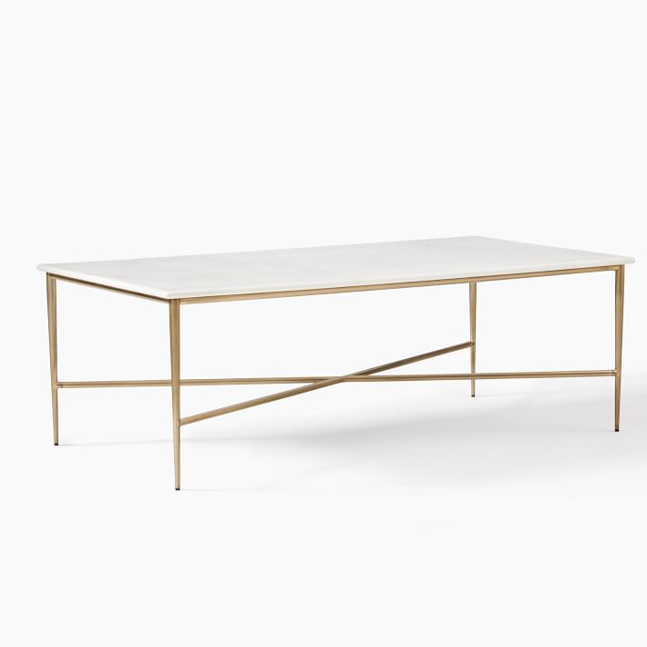 Neve White Marble Coffee Table Brass Frame Legs by West Elm