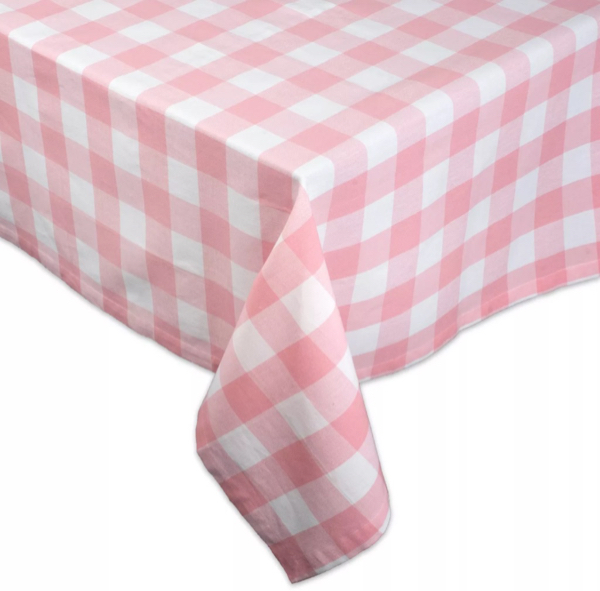 Pink Gingham Check Tablecloth