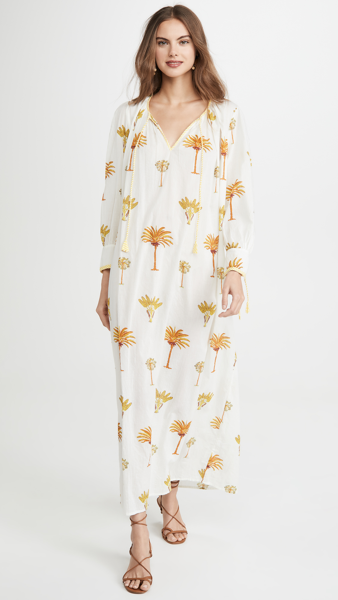 Palm Print Maxi Dress Yellow