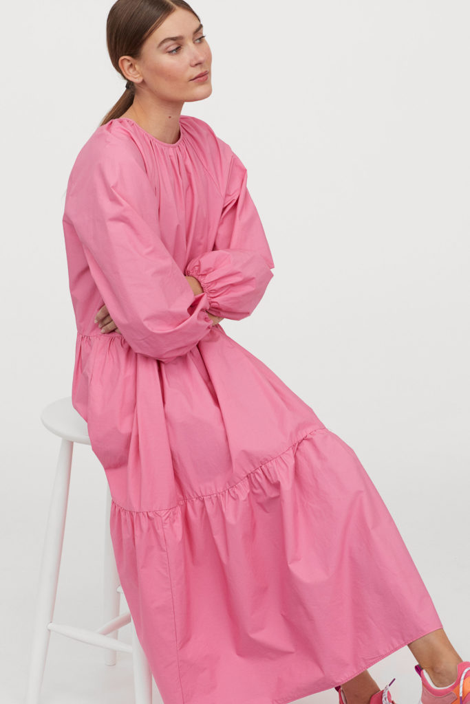 Pink Tiered Balloon Sleeve Dress