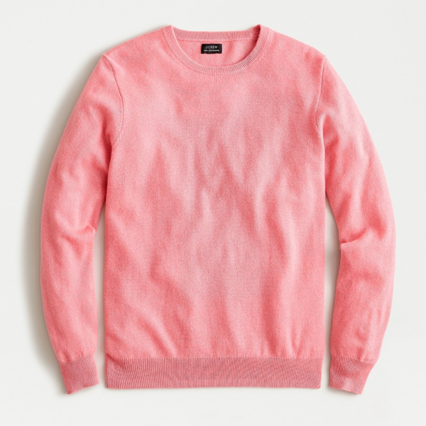 Pink Cashmere Crewneck Sweater Men's