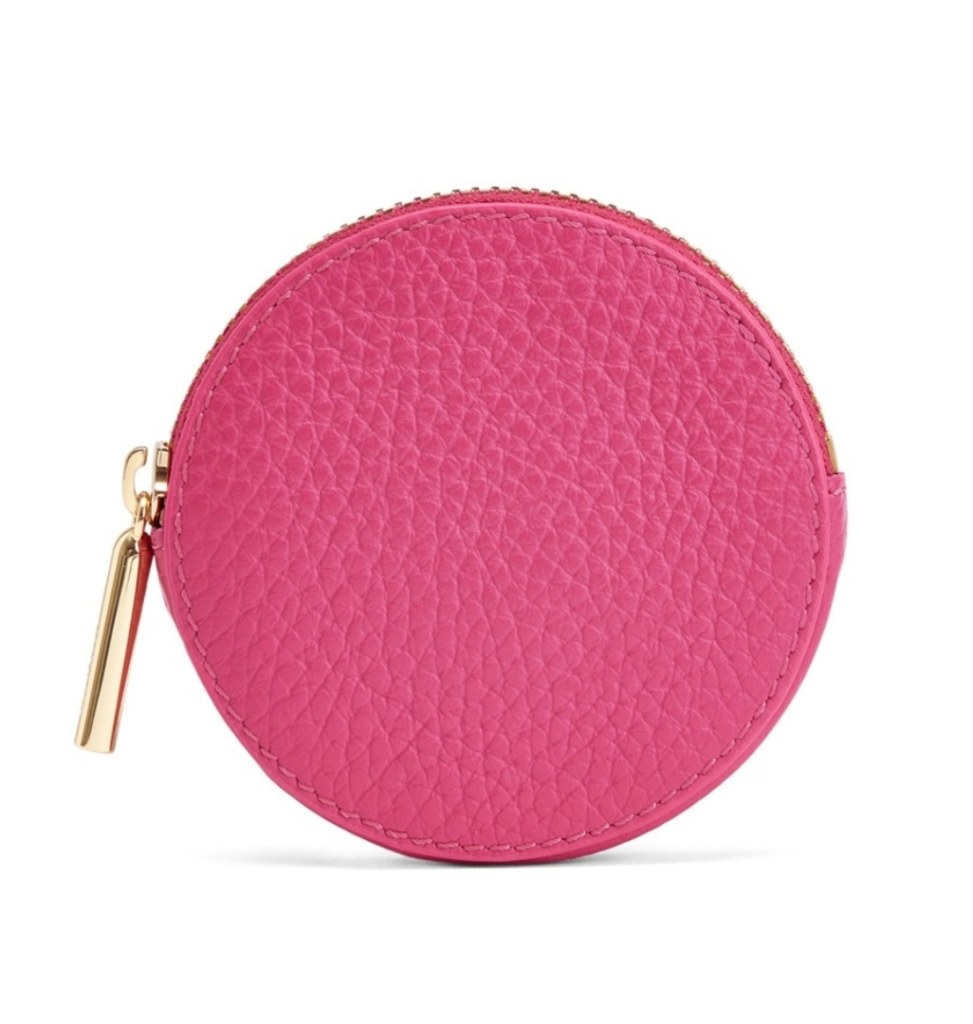 Pink Pebbled Leather Coin Pouch Round
