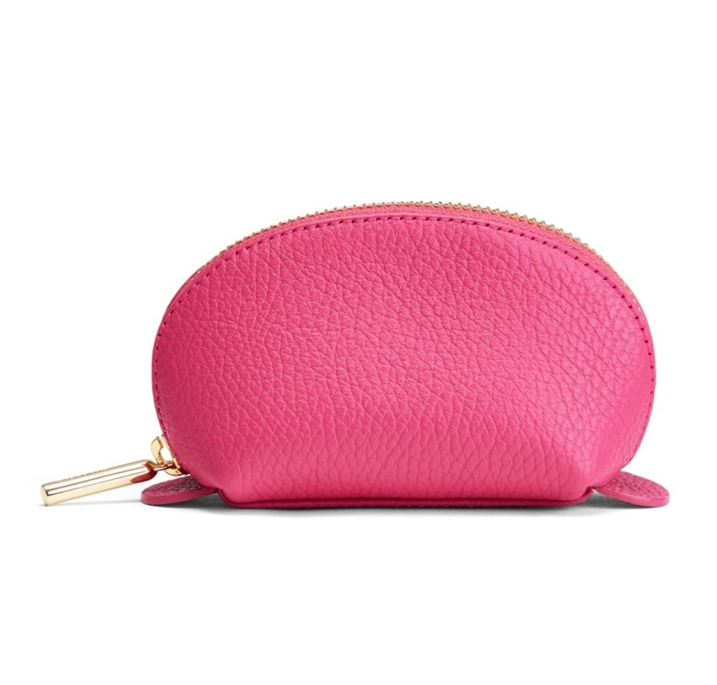 Pink Pebbled Leather Travel Case