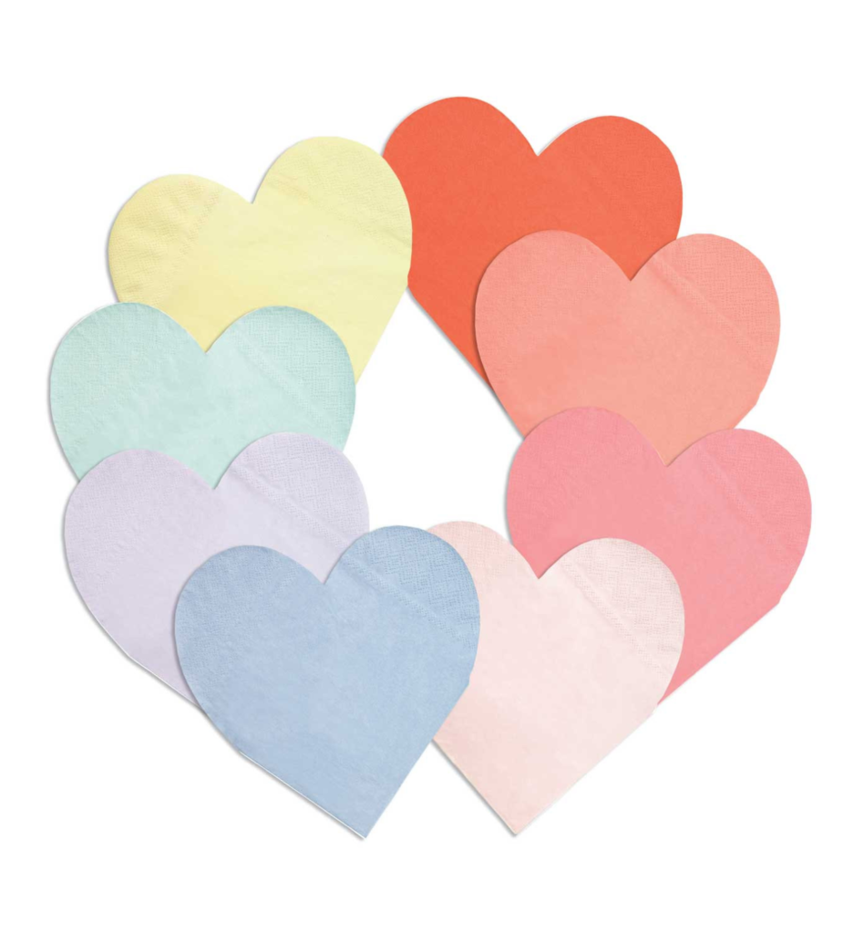 Rainbow Heart Paper Napkins