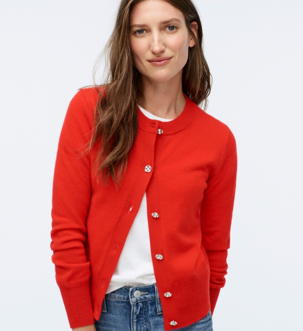 Red Cashmere Cardigan with Jeweled Buttons