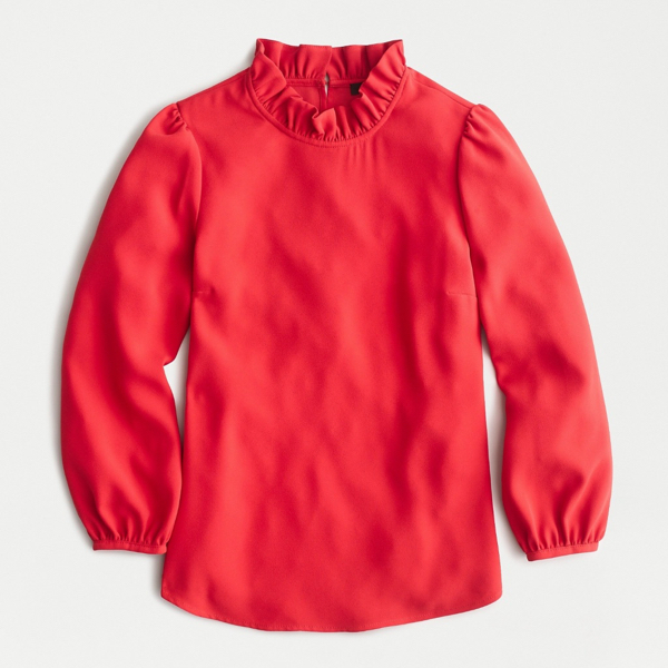 Red Long-Sleeve Ruffle-Neck Top