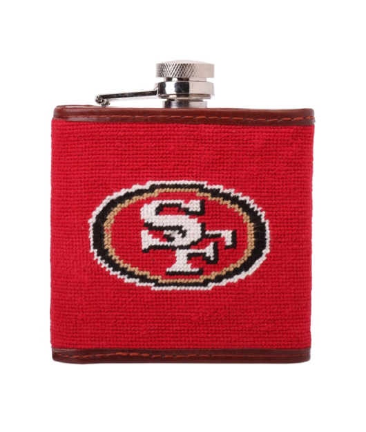 Red Needlepoint San Francisco 49ers Flask