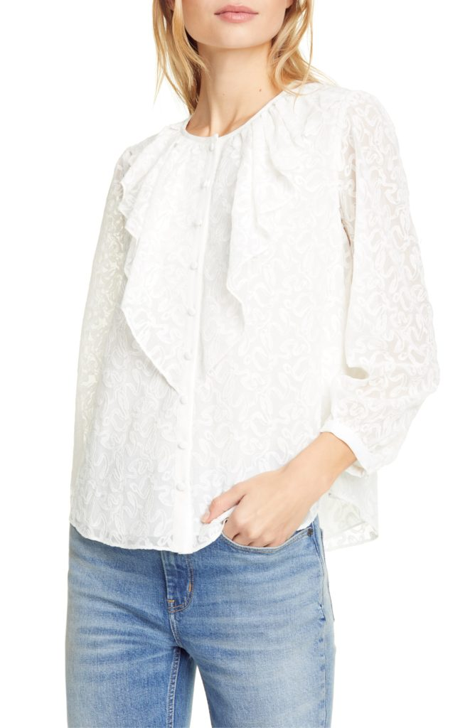 Ribbon Embroidered Silk Top