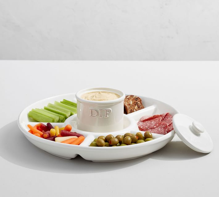 Stoneware Chip and Dip Server