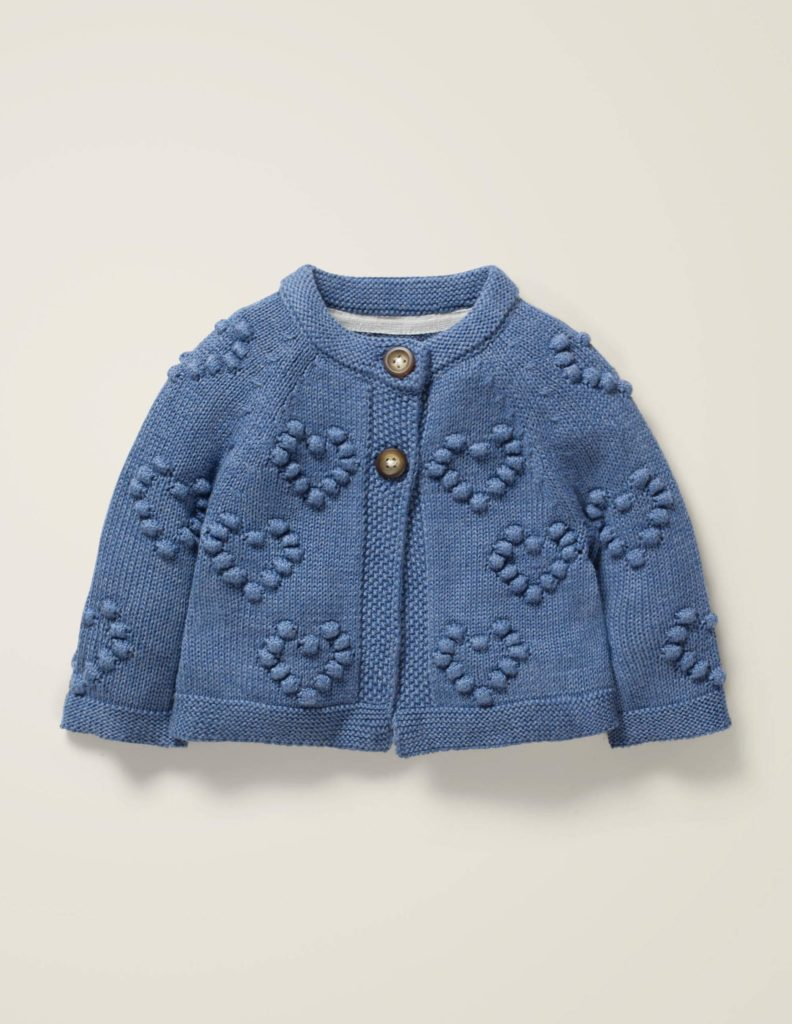 Textured Heart Baby Cardigan Valentine's Day Blue