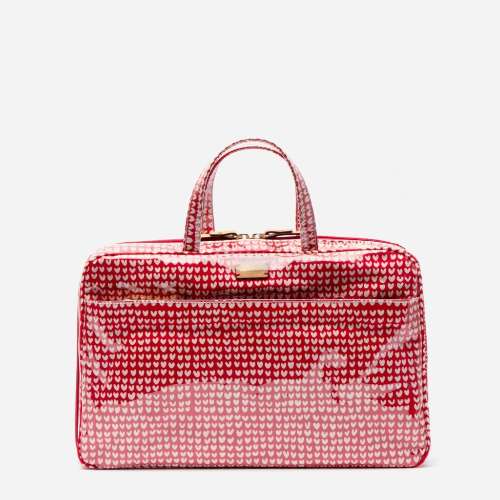 Heart Print Travel Cosmetic Case