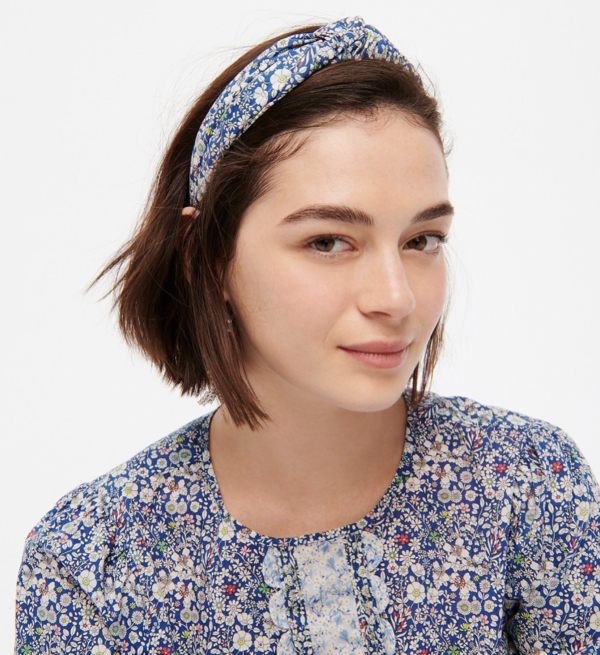 Turban Knot Headband in Liberty Floral Print Blue